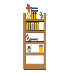 Colorful education bookcase with folders document vector