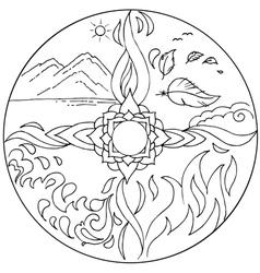 Coloring 4 elements Mandala Diksha vector image