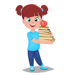 cute girl in casual clothes holding a stack of vector image