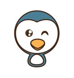 cute penguin face kawaii style vector image
