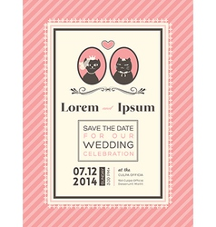 Cute Wedding invitation design frame template vector image
