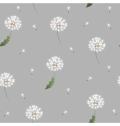 Dandelion seamless pattern on grey background vector image vector image