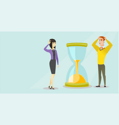 Desperate business people looking at hourglass vector
