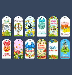 easter egg hunt tag and label set design vector image
