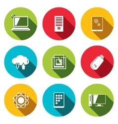 exchange of information technology flat icons set vector image vector image