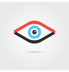 eye logotype from red and black ribbons vector image