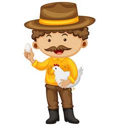 Farmer holding chicken and egg vector