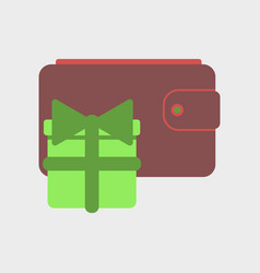 Flat icon of purse gift vector