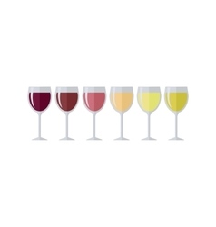 Glasses with Different Types of Elite Wine vector image