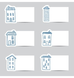 Houses doodles on small cards vector image