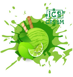 ice cream lime ball fruit dessert choose your vector image vector image
