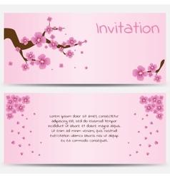 Invitation Design Template Blooming Sakura on Pink vector image vector image