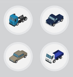 Isometric car set of lorry auto truck and other vector