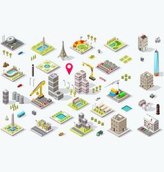Isometric city icon set vector