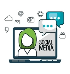 laptop avatar social media design isolated vector image vector image