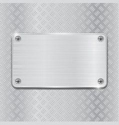 Metal brushed plate on non slip metallic surface vector
