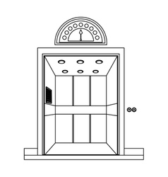 Monochrome contour with elevator opened door vector