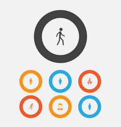 person icons set collection of running gentleman vector image vector image