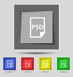 Psd icon sign on original five colored buttons vector