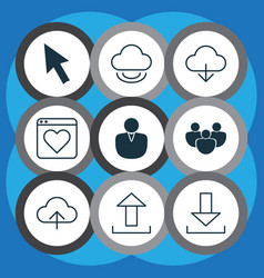Set of 9 online connection icons includes mouse vector