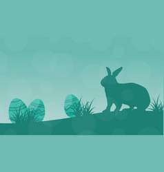 Silhouette of easter egg and bunny landscape vector