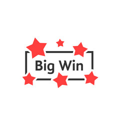 simple big win badge with red stars vector image vector image