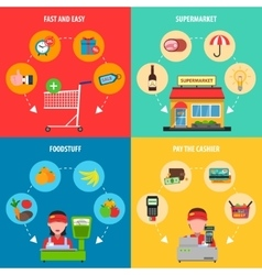Supermarket concept set vector