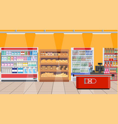 supermarket interior shelves with products vector image