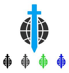 Sword globe flat icon vector