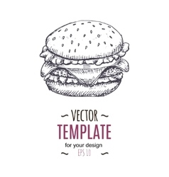 Vintage burger drawing hand drawn vector