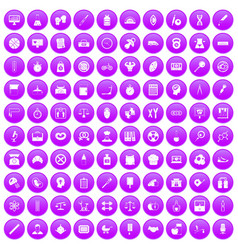 100 libra icons set purple vector