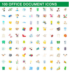 100 office document icons set cartoon style vector image