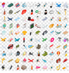 100 profession icons set isometric 3d style vector