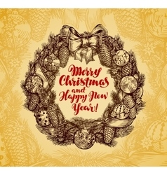 Xmas wreath vintage merry christmas and happy new vector