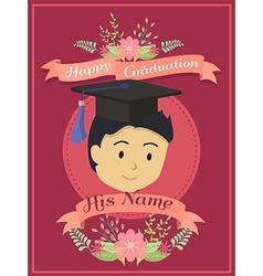Happy Graduation Boy Red Greeting Card vector image