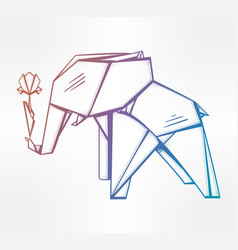 Geometric pattern origami elephant with flower vector