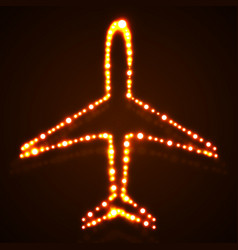 Abstract glowing airplane with neon vector