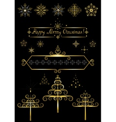 Options gold Christmas tree and snowflakes vector image