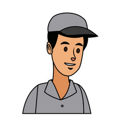 Man in uniform of delivery worker character vector