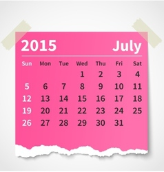 Calendar july 2015 colorful torn paper vector