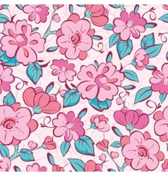Pink blue kimono flowers seamless pattern vector