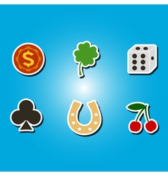 Color icons with symbols of gambling vector