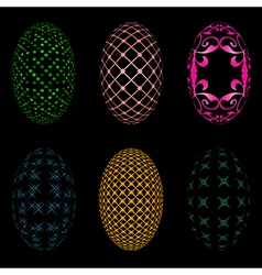 Easter eggs on a black background vector image
