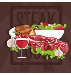 Steak house with meatwine and salad vector
