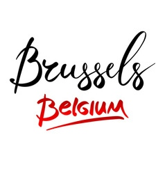 Belgium brussels hand-lettered country and capital vector