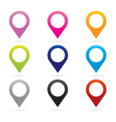 Set map pointer icon marker gps location flag vector