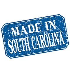 Made in south carolina blue square grunge stamp vector