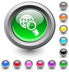 Global search round button vector image
