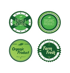 Fresh eco friendly green theme label set vector