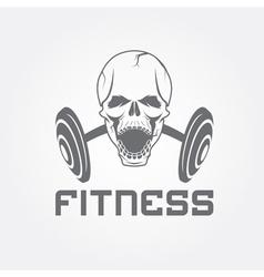 Aggressive skull and barbell fitness emblem vector